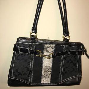 Coach black snakeskin buckle shoulder bag EUC